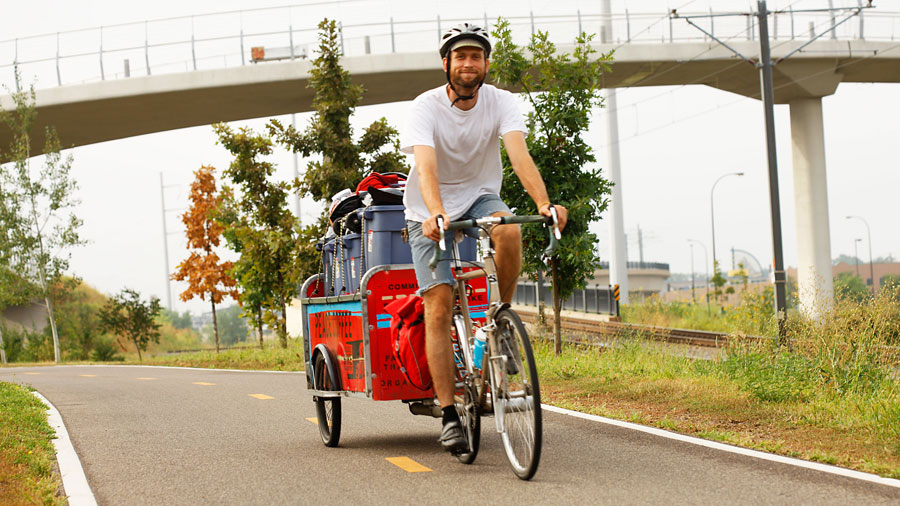 Peace Coffee Couriers Tow Coffee Carts 4,000 Miles a Year