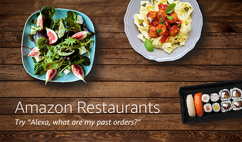 Amazon Restaurants splash page