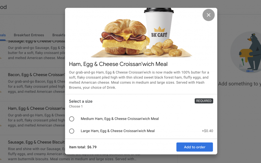 Burger King Delivery Now on Google